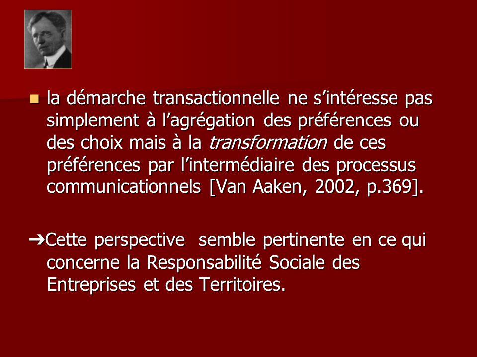 la démarche transactionnelle ne sintéresse pas simplement à lagrégation des préférences ou des choix mais à la transformation de ces préférences par lintermédiaire des processus communicationnels [Van Aaken, 2002, p.369].