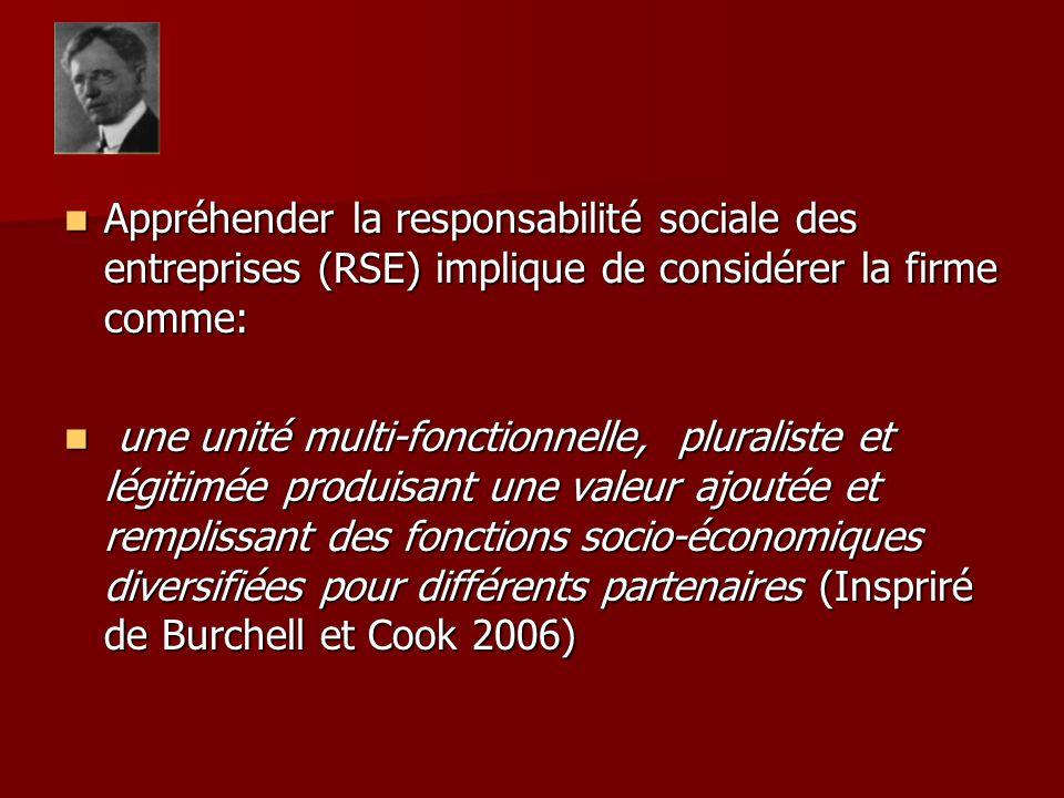 Appréhender la responsabilité sociale des entreprises (RSE) implique de considérer la firme comme: Appréhender la responsabilité sociale des entreprises (RSE) implique de considérer la firme comme: une unité multi-fonctionnelle, pluraliste et légitimée produisant une valeur ajoutée et remplissant des fonctions socio-économiques diversifiées pour différents partenaires (Inspriré de Burchell et Cook 2006) une unité multi-fonctionnelle, pluraliste et légitimée produisant une valeur ajoutée et remplissant des fonctions socio-économiques diversifiées pour différents partenaires (Inspriré de Burchell et Cook 2006)