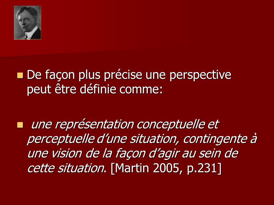 De façon plus précise une perspective peut être définie comme: De façon plus précise une perspective peut être définie comme: une représentation conce