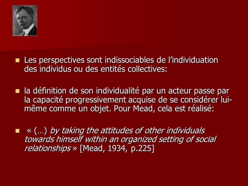 Les perspectives sont indissociables de lindividuation des individus ou des entités collectives: Les perspectives sont indissociables de lindividuation des individus ou des entités collectives: la définition de son individualité par un acteur passe par la capacité progressivement acquise de se considérer lui- même comme un objet.