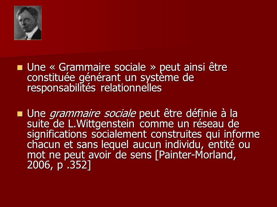 Une « Grammaire sociale » peut ainsi être constituée générant un système de responsabilités relationnelles Une « Grammaire sociale » peut ainsi être c