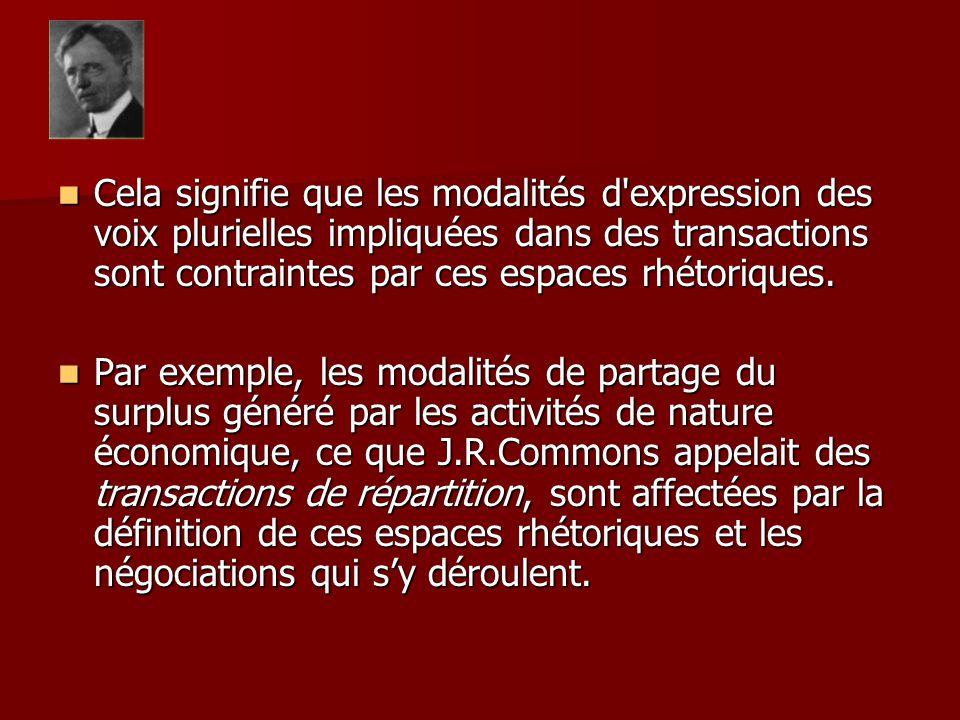 Cela signifie que les modalités d'expression des voix plurielles impliquées dans des transactions sont contraintes par ces espaces rhétoriques. Cela s