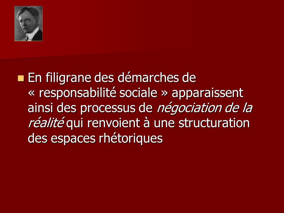 En filigrane des démarches de « responsabilité sociale » apparaissent ainsi des processus de négociation de la réalité qui renvoient à une structurati