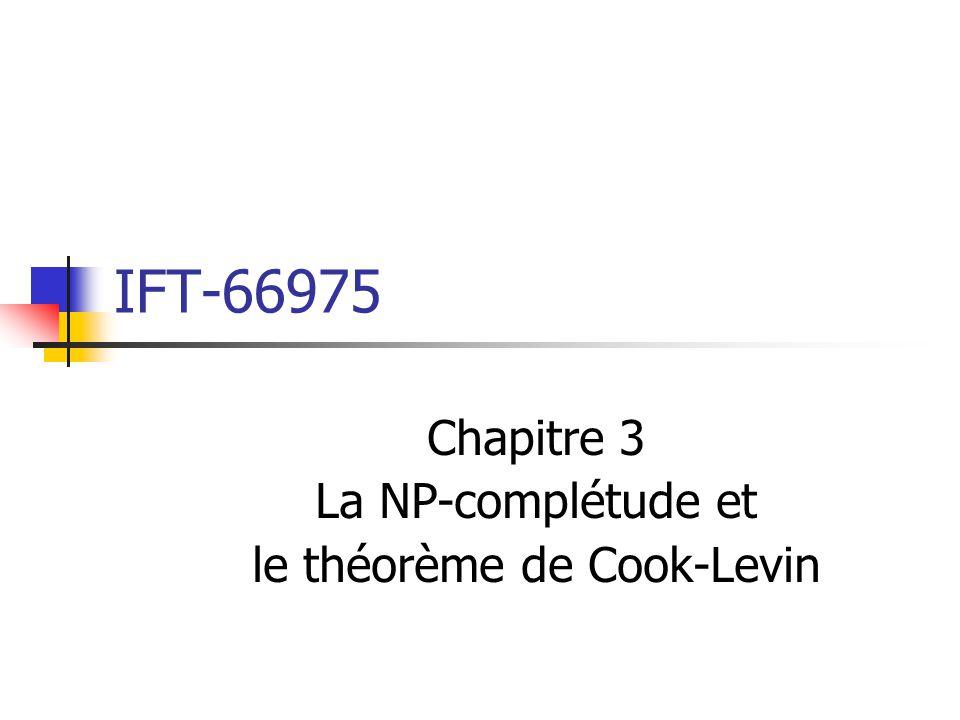 IFT-66975 Chapitre 3 La NP-complétude et le théorème de Cook-Levin
