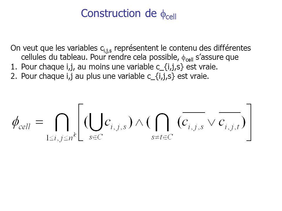 Construction de cell On veut que les variables c i,j,s représentent le contenu des différentes cellules du tableau.