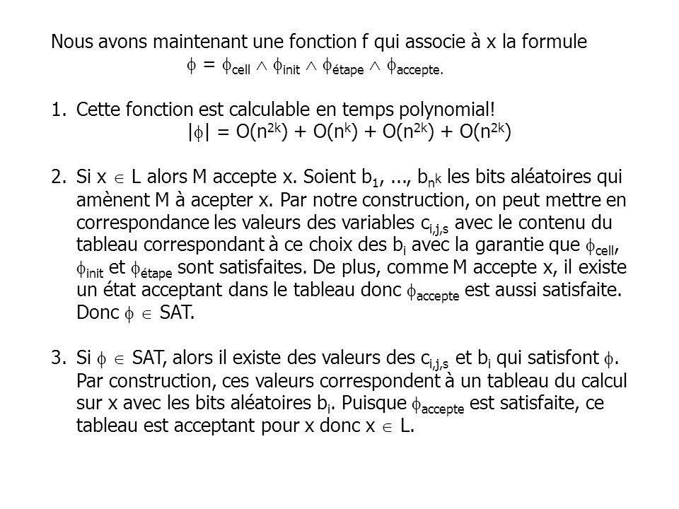 Nous avons maintenant une fonction f qui associe à x la formule = cell init étape accepte. 1.Cette fonction est calculable en temps polynomial! | | =