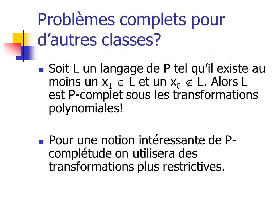 Problèmes complets pour dautres classes? Soit L un langage de P tel quil existe au moins un x 1 L et un x 0 L. Alors L est P-complet sous les transfor