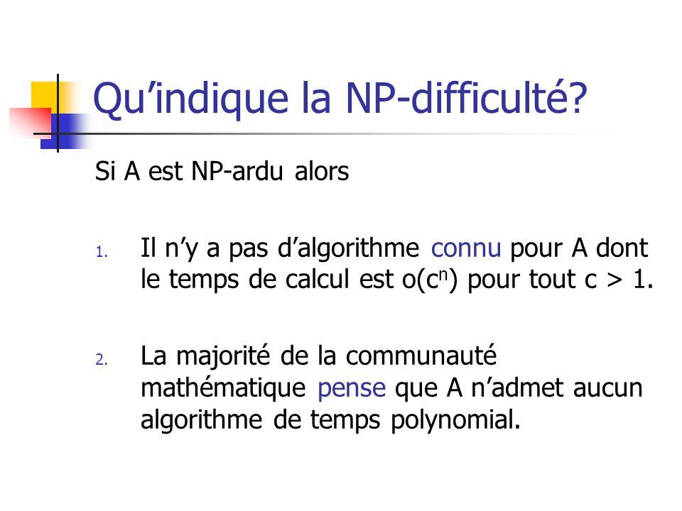 Quindique la NP-difficulté? Si A est NP-ardu alors 1. Il ny a pas dalgorithme connu pour A dont le temps de calcul est o(c n ) pour tout c > 1. 2. La