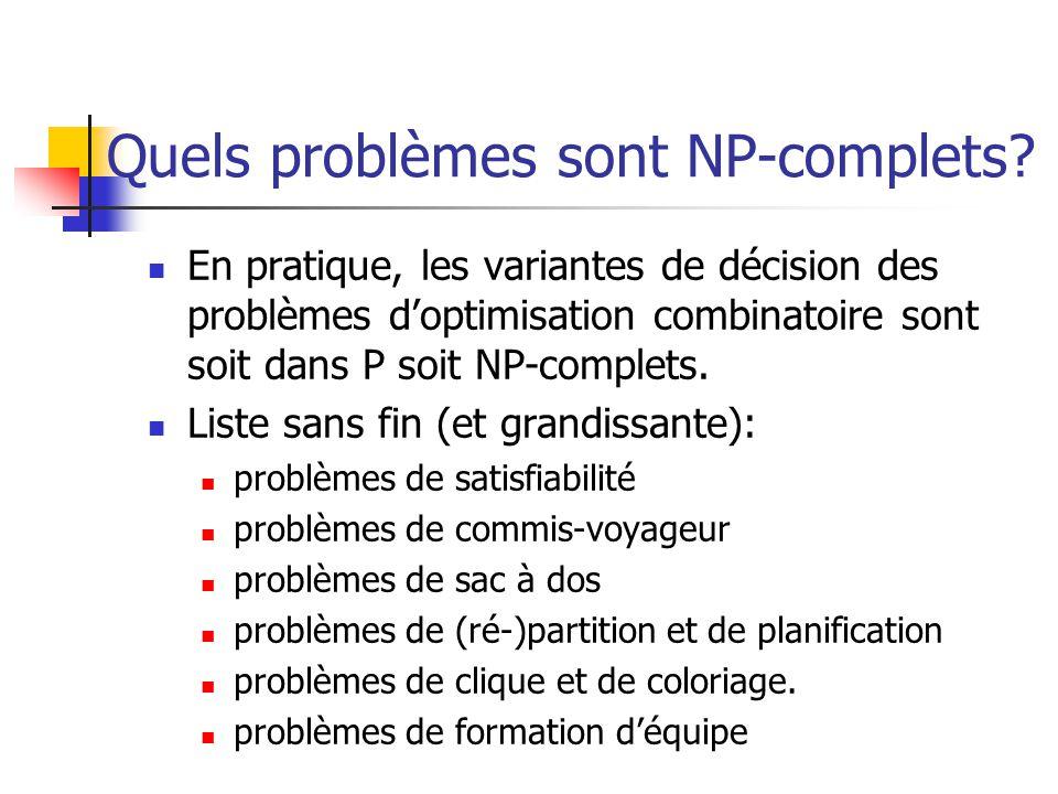 Quels problèmes sont NP-complets? En pratique, les variantes de décision des problèmes doptimisation combinatoire sont soit dans P soit NP-complets. L