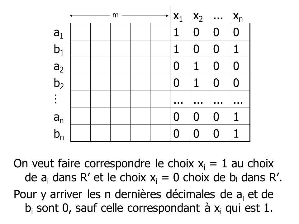 On veut faire correspondre le choix x i = 1 au choix de a i dans R et le choix x i = 0 choix de b i dans R.