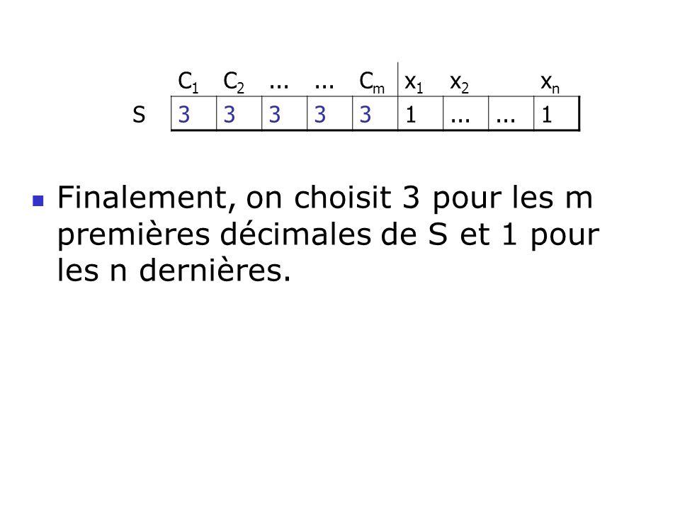 Finalement, on choisit 3 pour les m premières décimales de S et 1 pour les n dernières. C1C1 C2C2... CmCm x1x1 x2x2 xnxn S333331 1
