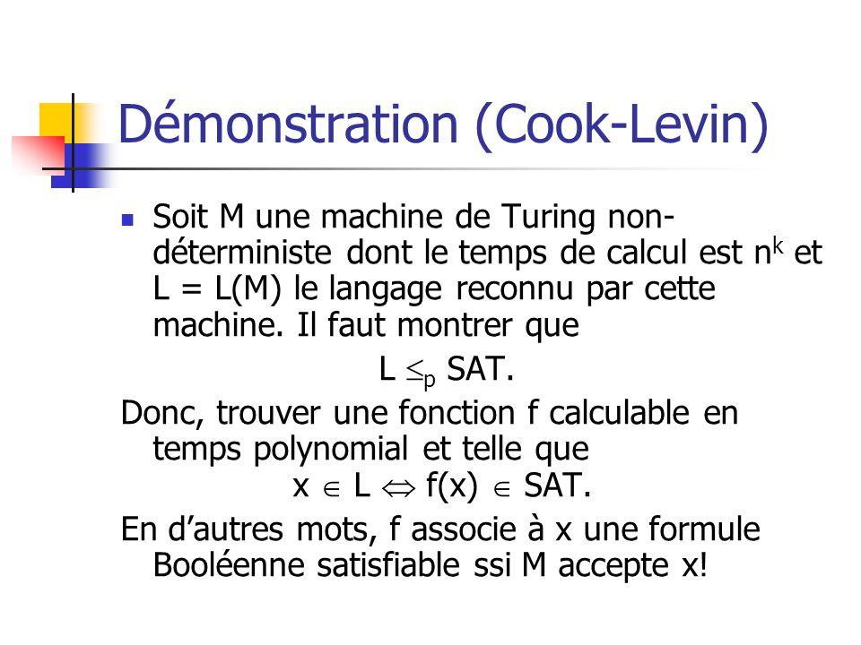 Démonstration (Cook-Levin) Soit M une machine de Turing non- déterministe dont le temps de calcul est n k et L = L(M) le langage reconnu par cette machine.