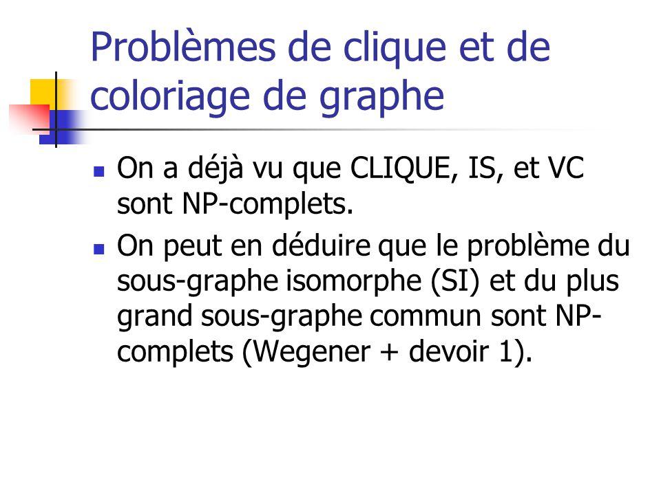 Problèmes de clique et de coloriage de graphe On a déjà vu que CLIQUE, IS, et VC sont NP-complets.