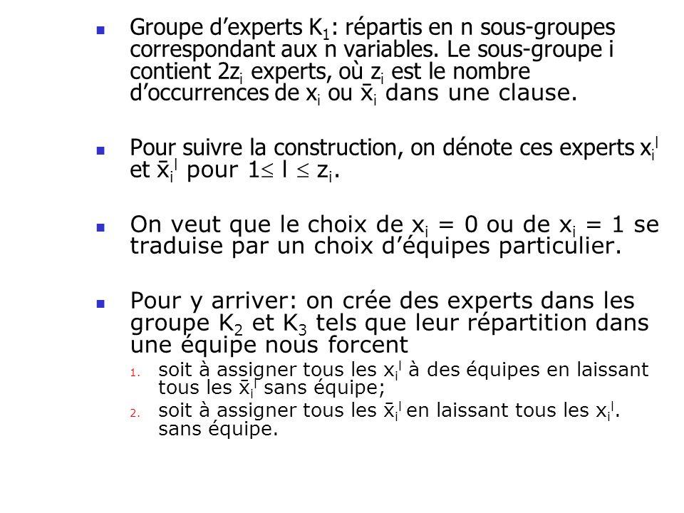 Groupe dexperts K 1 : répartis en n sous-groupes correspondant aux n variables. Le sous-groupe i contient 2z i experts, où z i est le nombre doccurren