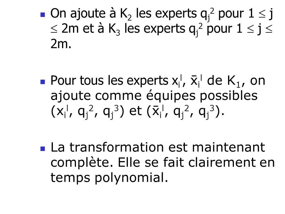 On ajoute à K 2 les experts q j 2 pour 1 j 2m et à K 3 les experts q j 2 pour 1 j 2m.