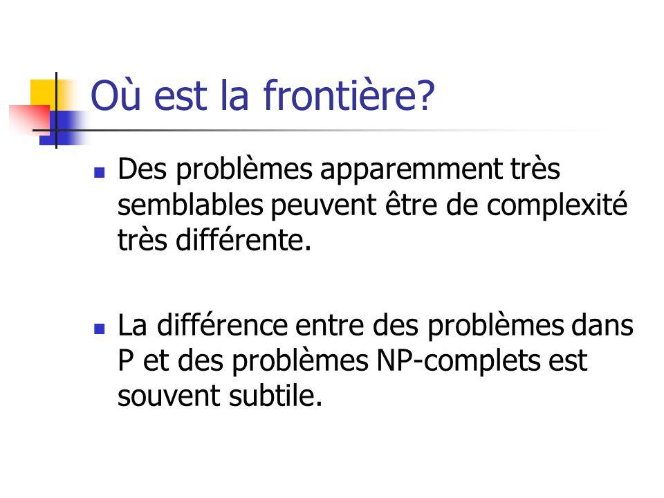 Où est la frontière? Des problèmes apparemment très semblables peuvent être de complexité très différente. La différence entre des problèmes dans P et