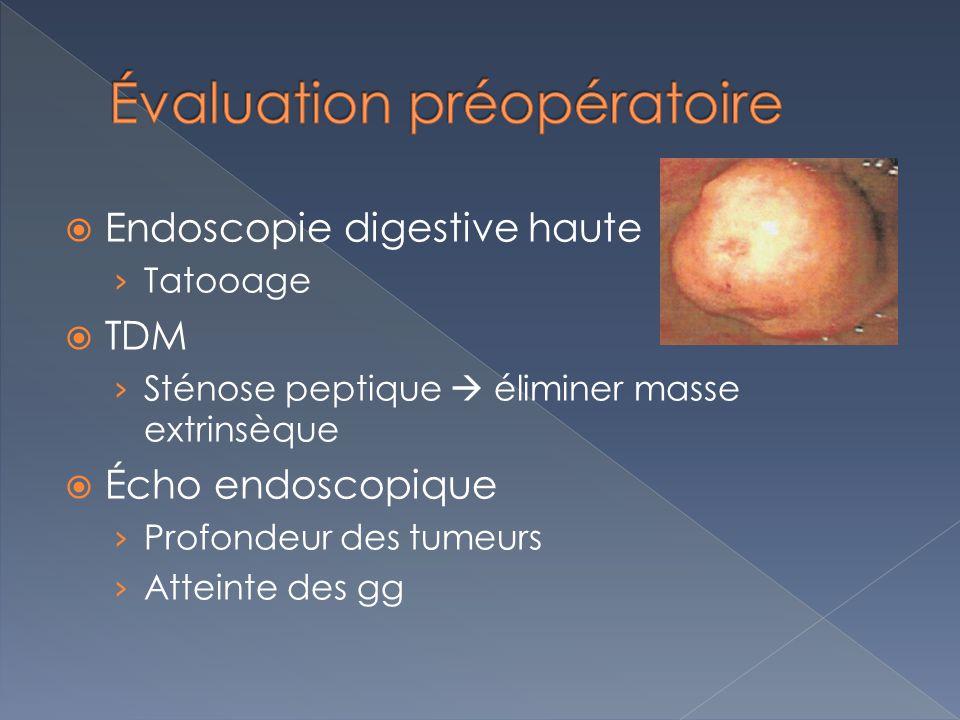 Endoscopie digestive haute Tatooage TDM Sténose peptique éliminer masse extrinsèque Écho endoscopique Profondeur des tumeurs Atteinte des gg