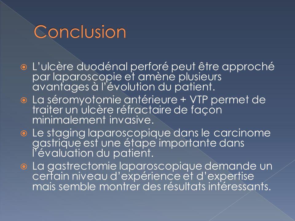 Lulcère duodénal perforé peut être approché par laparoscopie et amène plusieurs avantages à lévolution du patient.