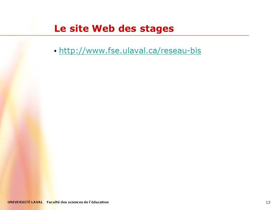 UNIVERSITÉ LAVAL Faculté des sciences de léducation Le site Web des stages http://www.fse.ulaval.ca/reseau-bis 13