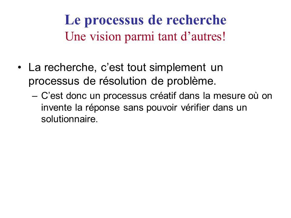 Le processus de recherche Une vision parmi tant dautres! La recherche, cest tout simplement un processus de résolution de problème. –Cest donc un proc