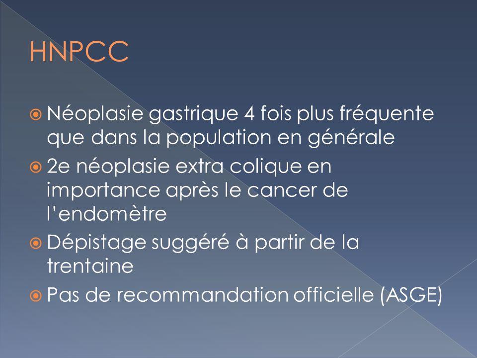 Néoplasie gastrique 4 fois plus fréquente que dans la population en générale 2e néoplasie extra colique en importance après le cancer de lendomètre Dé