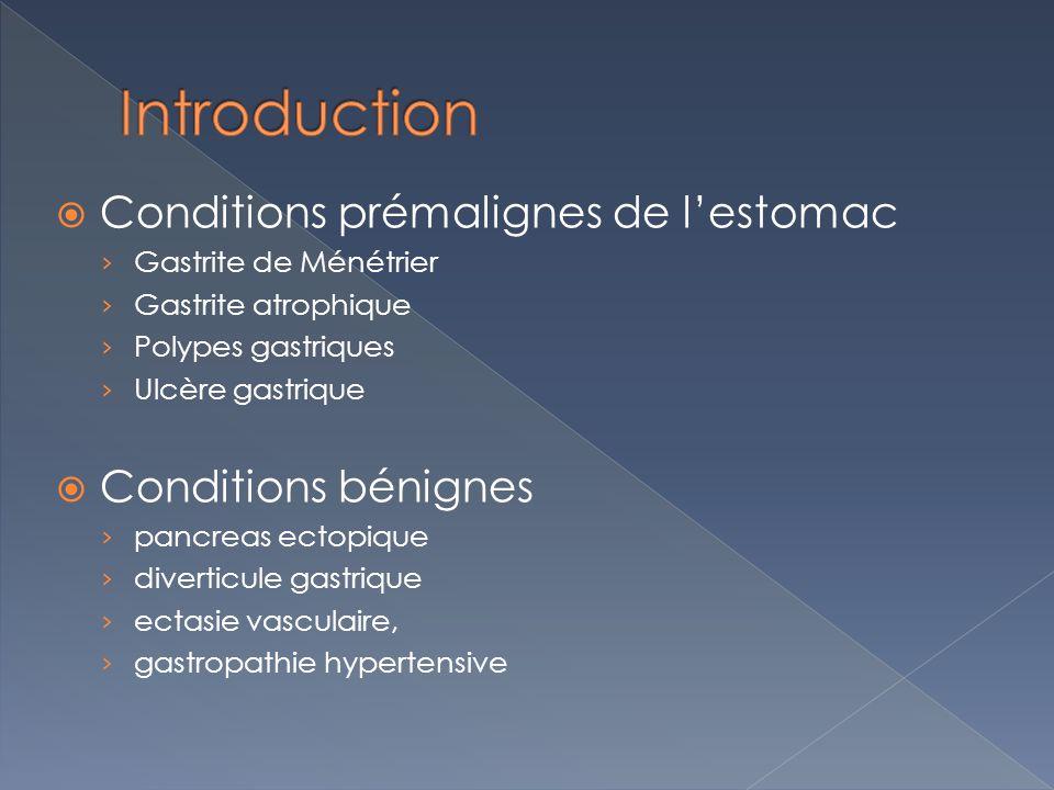 Conditions prémalignes de lestomac Gastrite de Ménétrier Gastrite atrophique Polypes gastriques Ulcère gastrique Conditions bénignes pancreas ectopiqu