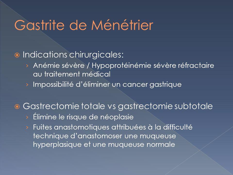 Indications chirurgicales: Anémie sévère / Hypoprotéinémie sévère réfractaire au traitement médical Impossibilité déliminer un cancer gastrique Gastre