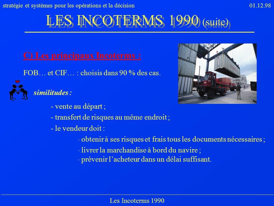 stratégie et systèmes pour les opérations et la décision01.12.98 Les Incoterms 1990 C) Les principaux Incoterms : FOB… et CIF… : choisis dans 90 % des