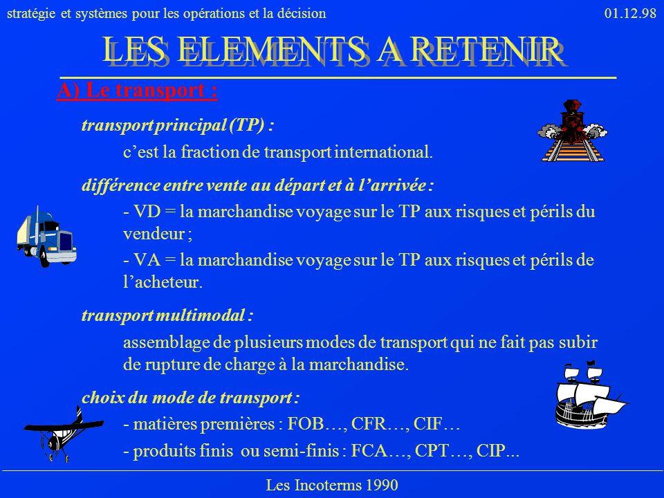 stratégie et systèmes pour les opérations et la décision01.12.98 Les Incoterms 1990 A) Le transport : transport principal (TP) : cest la fraction de t