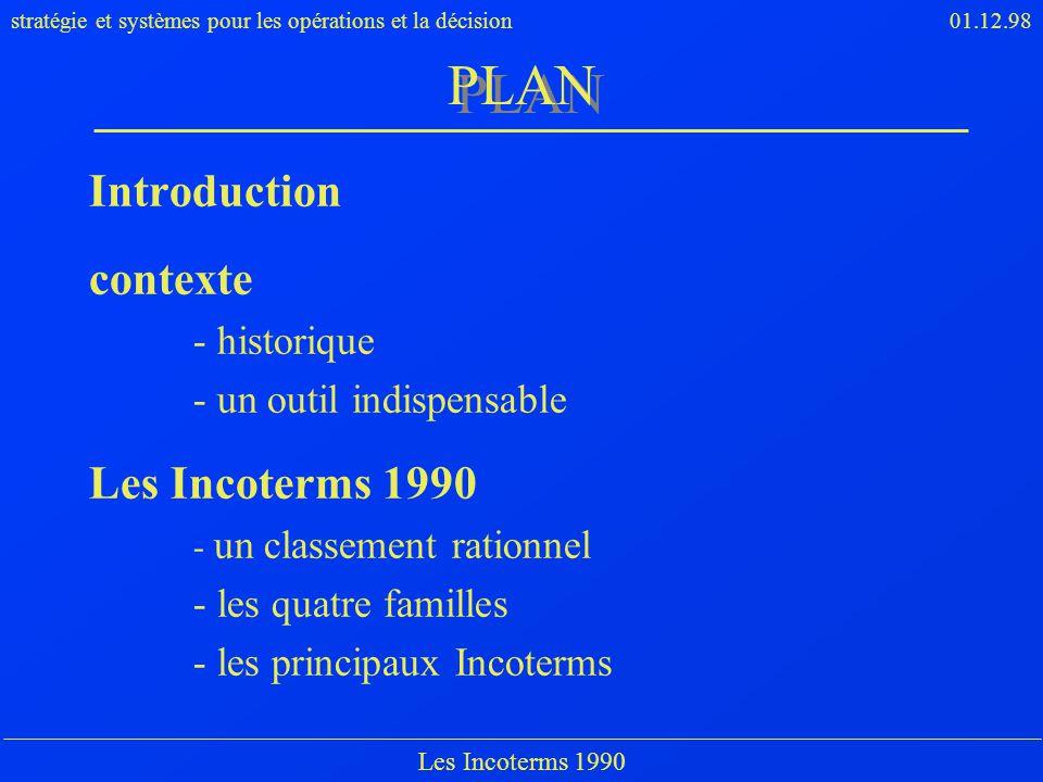 stratégie et systèmes pour les opérations et la décision01.12.98 Les Incoterms 1990 PLAN Introduction contexte - historique - un outil indispensable L
