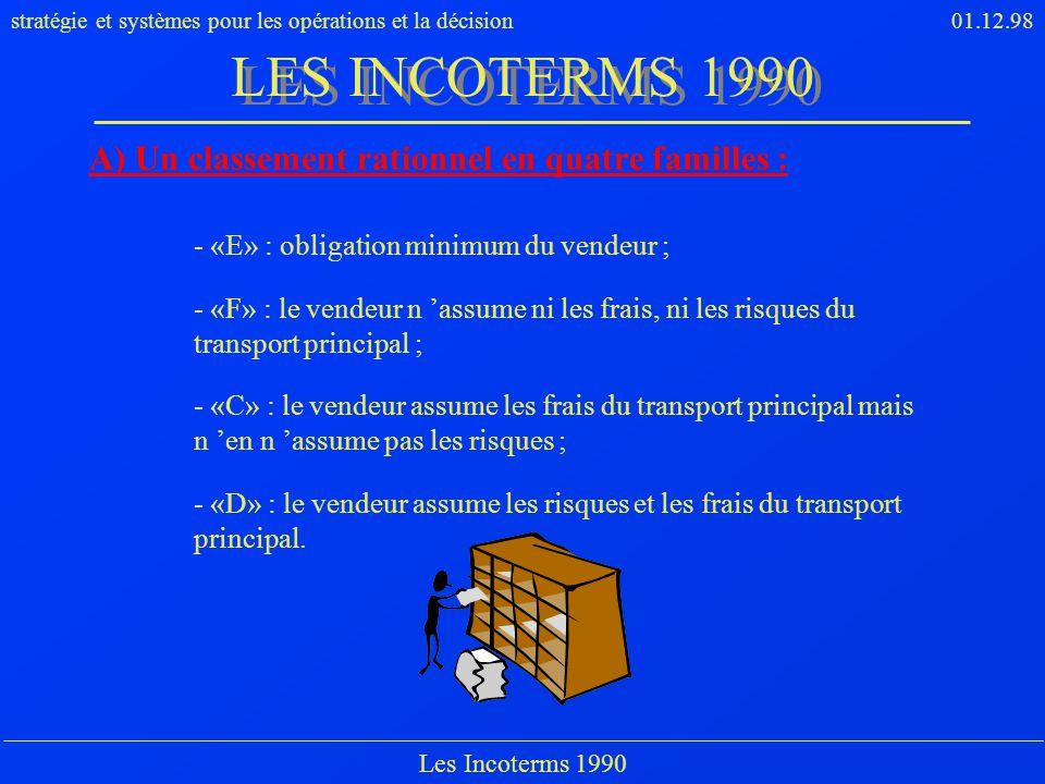 stratégie et systèmes pour les opérations et la décision01.12.98 Les Incoterms 1990 A) Un classement rationnel en quatre familles : - «E» : obligation