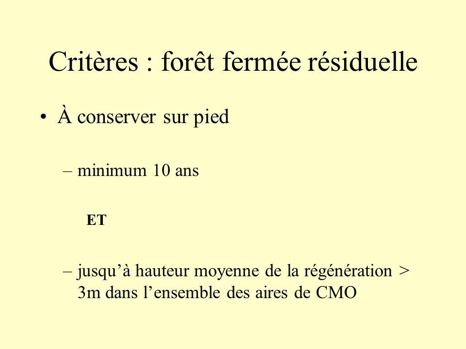 Critères : forêt fermée résiduelle À conserver sur pied –minimum 10 ans ET –jusquà hauteur moyenne de la régénération > 3m dans lensemble des aires de CMO