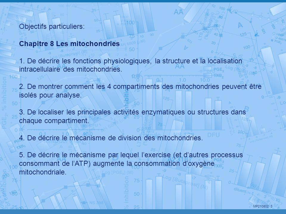 MP210802 3 Objectifs particuliers: Chapitre 8 Les mitochondries 1. De décrire les fonctions physiologiques, la structure et la localisation intracellu