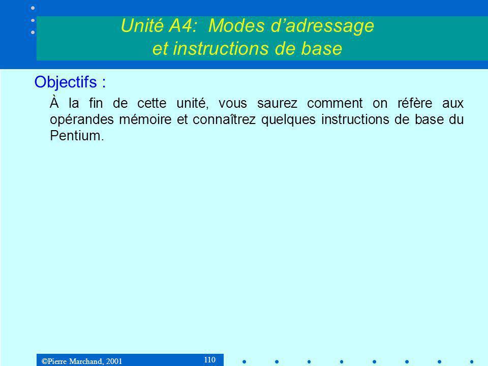 ©Pierre Marchand, 2001 110 Objectifs : À la fin de cette unité, vous saurez comment on réfère aux opérandes mémoire et connaîtrez quelques instructions de base du Pentium.