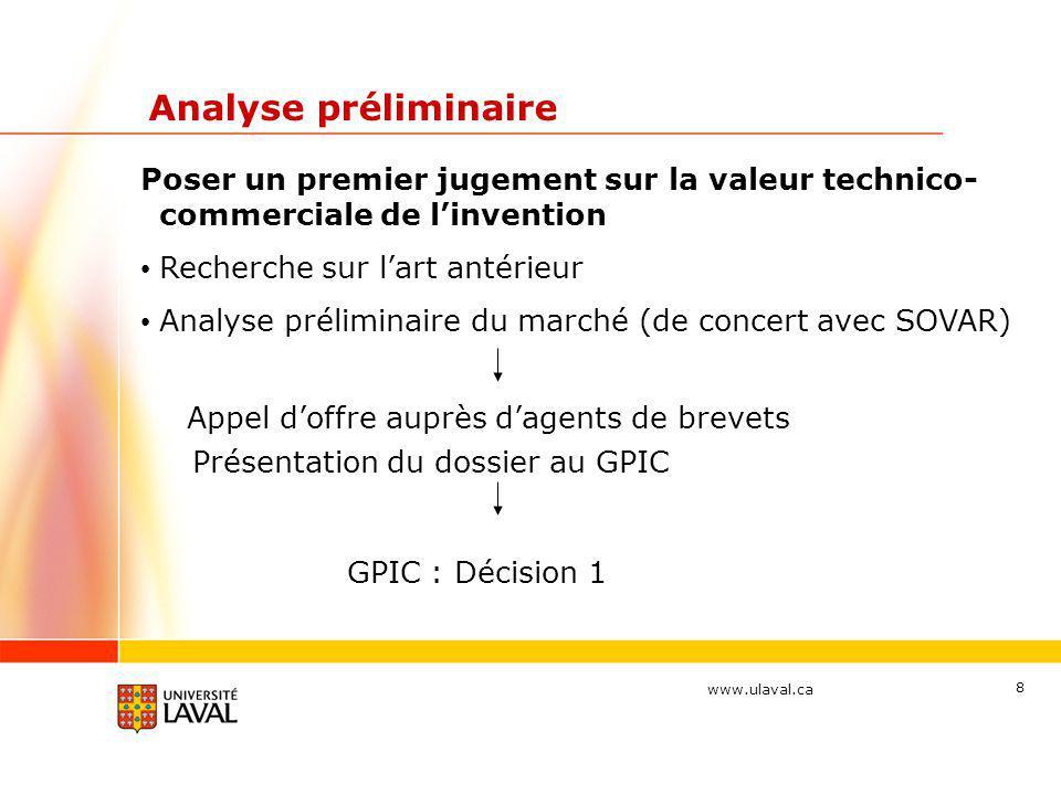 www.ulaval.ca 9 Protection à court terme Préparer et déposer une demande de brevet provisoire - établit une date de priorité - protège minimalement les droits de PI pendant 12 mois