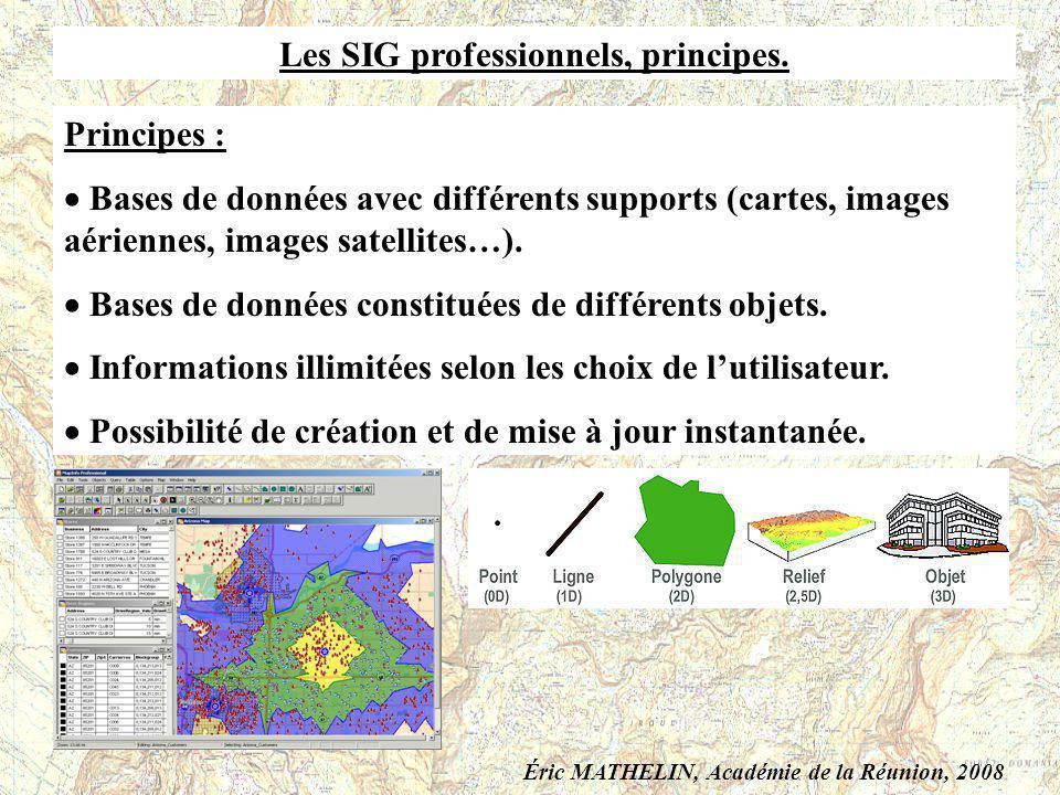 Les SIG professionnels, principes. Principes : Bases de données avec différents supports (cartes, images aériennes, images satellites…). Bases de donn
