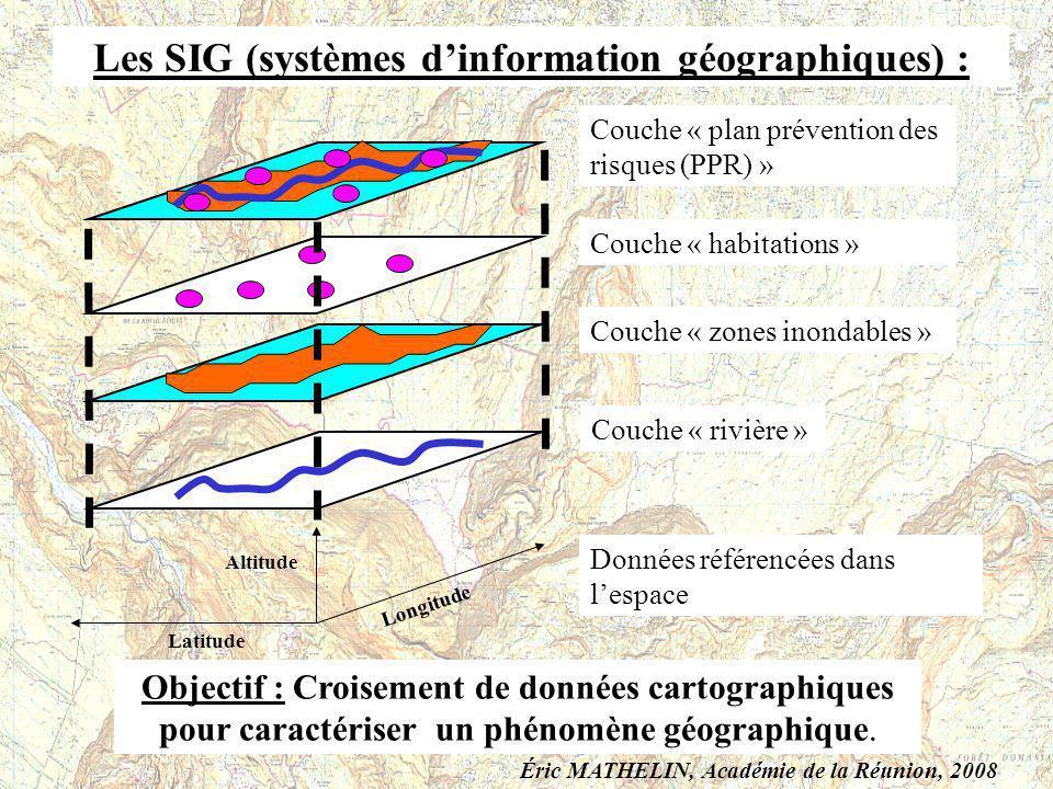 Couche « rivière » Couche « zones inondables » Couche « habitations » Couche « plan prévention des risques (PPR) » Latitude Longitude Altitude Données