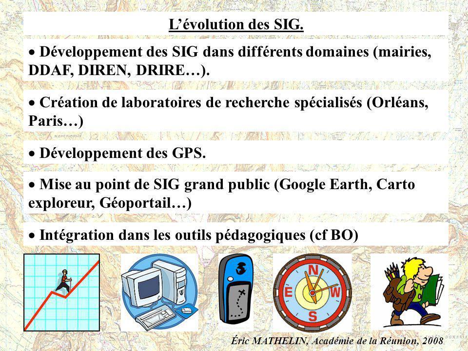 Lévolution des SIG. Développement des SIG dans différents domaines (mairies, DDAF, DIREN, DRIRE…). Création de laboratoires de recherche spécialisés (