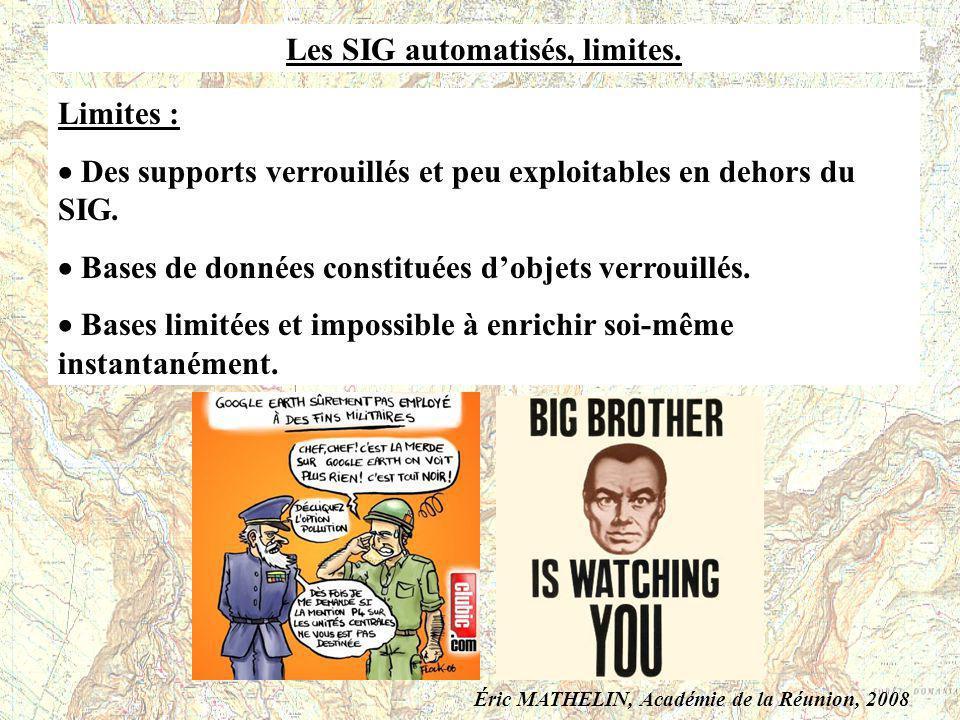 Les SIG automatisés, limites. Limites : Des supports verrouillés et peu exploitables en dehors du SIG. Bases de données constituées dobjets verrouillé