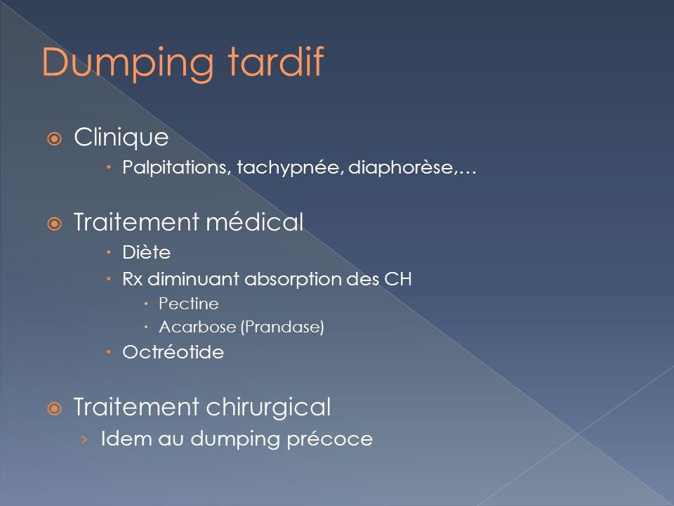 Clinique Palpitations, tachypnée, diaphorèse,… Traitement médical Diète Rx diminuant absorption des CH Pectine Acarbose (Prandase) Octréotide Traiteme