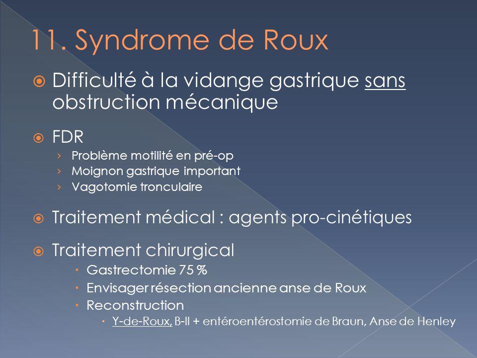 Difficulté à la vidange gastrique sans obstruction mécanique FDR Problème motilité en pré-op Moignon gastrique important Vagotomie tronculaire Traitem