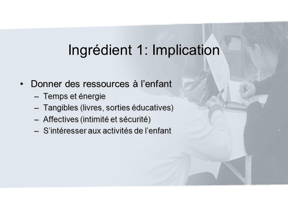 Ingrédient 1: Implication Donner des ressources à lenfantDonner des ressources à lenfant –Temps et énergie –Tangibles (livres, sorties éducatives) –Af
