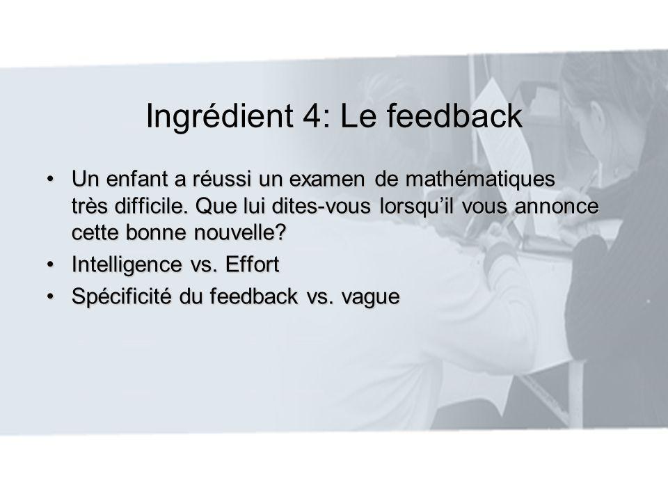 Ingrédient 4: Le feedback Compliment efficace: Compliment efficace: 1.Complimenter lorsque des critères spécifiques de performance ont été atteints 2.Être spontané et crédible 3.Fournir des informations à lenfant à propos de ses compétences 4.Utiliser les réalisations antérieures de lenfant comme point de référence pour évaluer ses réalisations actuelles 5.Se montrer reconnaissant envers un effort remarquable ou suite à un succès sur une tâche difficile