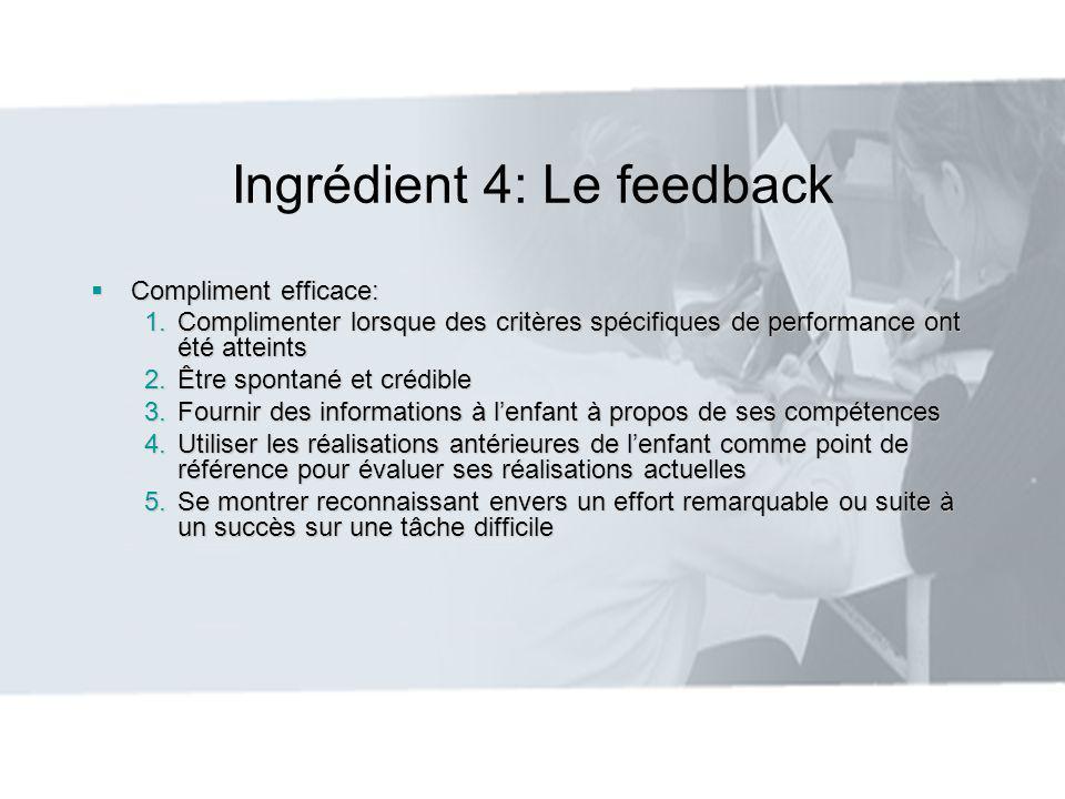 Ingrédient 4: Le feedback Compliment efficace: Compliment efficace: 1.Complimenter lorsque des critères spécifiques de performance ont été atteints 2.