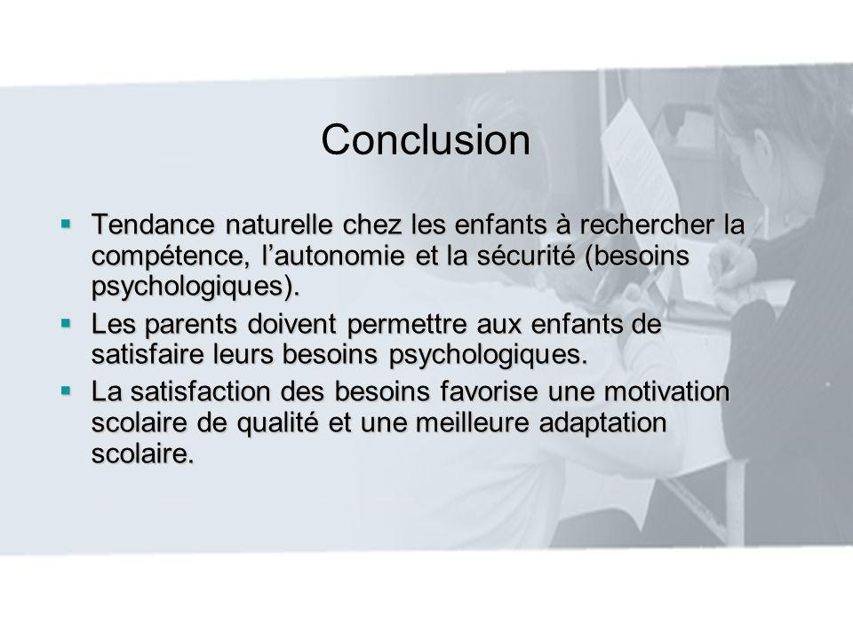 Conclusion Tendance naturelle chez les enfants à rechercher la compétence, lautonomie et la sécurité (besoins psychologiques). Tendance naturelle chez