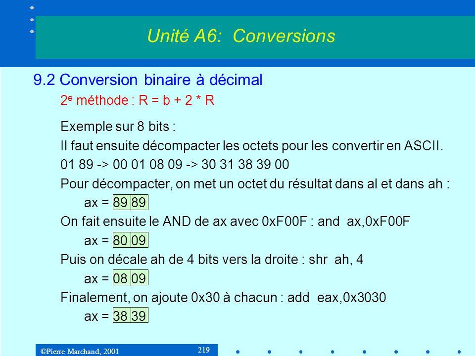 ©Pierre Marchand, 2001 219 9.2 Conversion binaire à décimal 2 e méthode : R = b + 2 * R Exemple sur 8 bits : Il faut ensuite décompacter les octets po