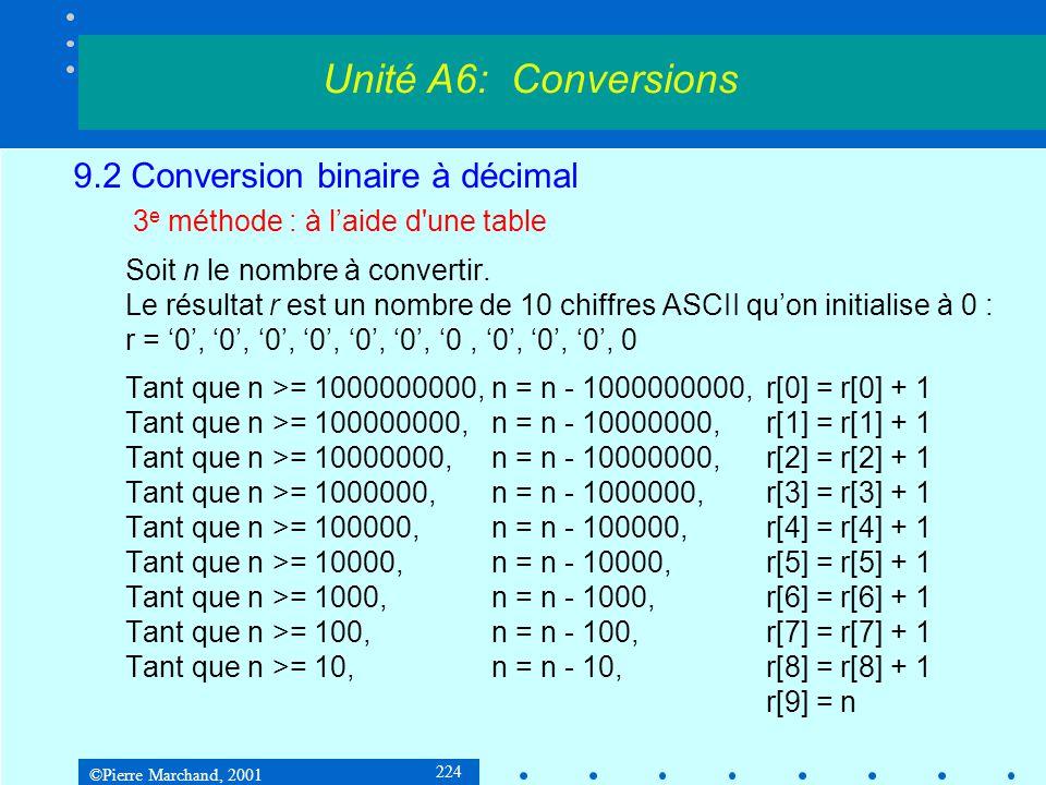©Pierre Marchand, 2001 224 9.2 Conversion binaire à décimal 3 e méthode : à laide d'une table Soit n le nombre à convertir. Le résultat r est un nombr