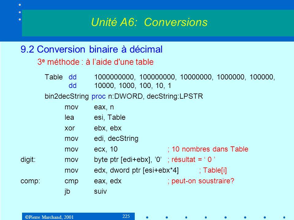 ©Pierre Marchand, 2001 225 9.2 Conversion binaire à décimal 3 e méthode : à laide d'une table Table dd1000000000, 100000000, 10000000, 1000000, 100000