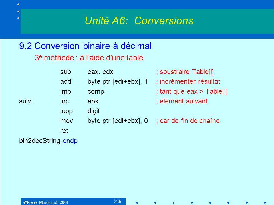 ©Pierre Marchand, 2001 226 9.2 Conversion binaire à décimal 3 e méthode : à laide d'une table subeax. edx; soustraire Table[i] addbyte ptr [edi+ebx],