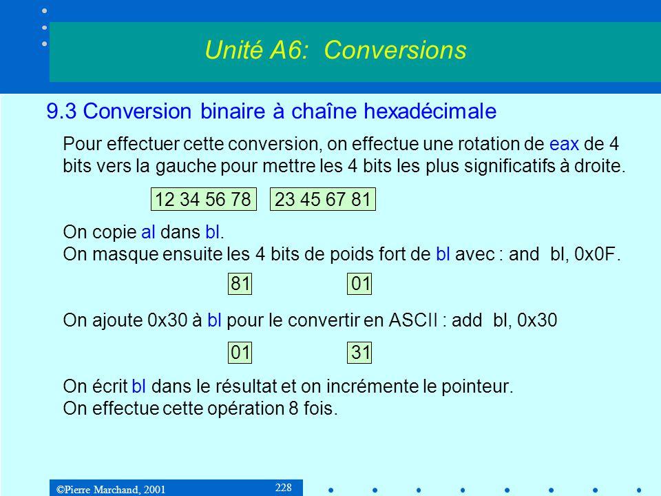 ©Pierre Marchand, 2001 228 9.3 Conversion binaire à chaîne hexadécimale Pour effectuer cette conversion, on effectue une rotation de eax de 4 bits ver